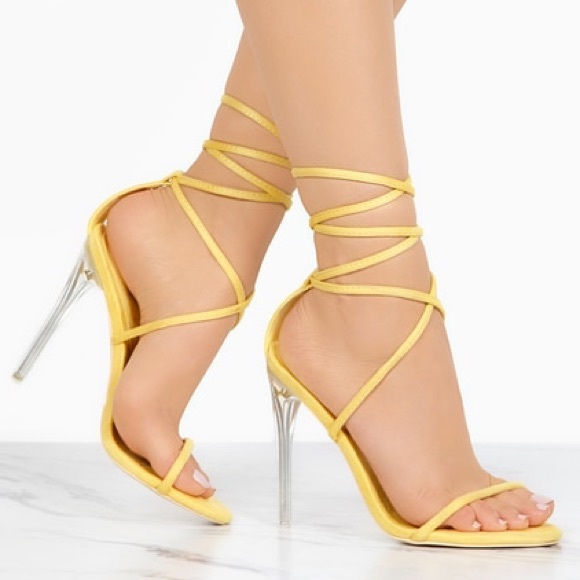 e04ba5fa177 ➳ Golden Yellow Suede Summer Lace Up Heels NWT